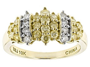 Natural Yellow And White Diamond 10k Yellow Gold Ring 1.05ctw