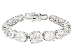 White Herkimer Quartz sterling silver Bracelet 26.60ctw