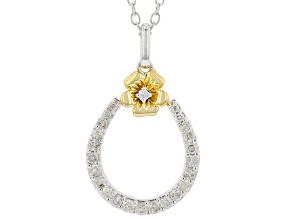 White Diamond Rhodium & 14k Yellow Gold Over Sterling Silver Pansy Horseshoe Pendant 0.25ctw