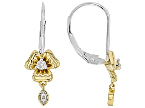 White Diamond Rhodium & 14k Yellow Gold Over Sterling Silver Pansy Drop Earrings 0.10ctw