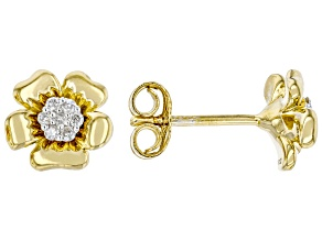 White Diamond 14k Yellow Gold Over Sterling Silver Pansy Stud Earrings 0.10ctw