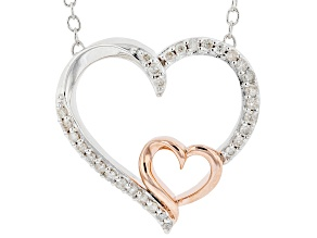 White Diamond Rhodium & 14k Rose Gold Over Sterling Silver Double Heart Necklace 0.15ctw