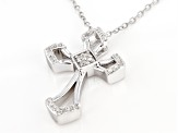 "White Diamond Rhodium Over Sterling Silver Cross Pendant With 16"" Cable Chain 0.20ctw"