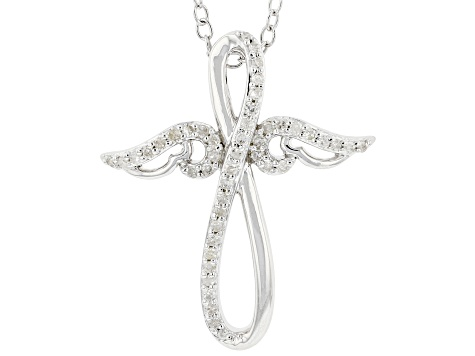 "White Diamond Rhodium Over Sterling Silver Winged Cross Pendant With 16"" Cable Chain 0.15ctw"