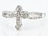 White Diamond Rhodium Over Sterling Silver Cross Ring 0.15ctw