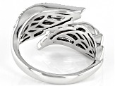 White Diamond Rhodium Over Sterling Silver Angel Wing Bypass Ring 0.10ctw