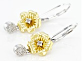 White Diamond Rhodium & 14k Yellow Gold Over Sterling Silver Pansy Drop Earrings 0.15ctw