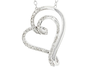 White Diamond Rhodium Over Sterling Silver Heart Necklace 0.25ctw