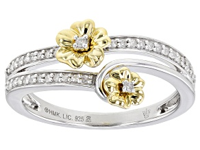 White Diamond Rhodium And 14k Yellow Gold Over Sterling Silver Double Pansy Bypass Ring 0.15ctw