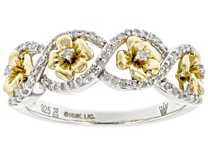 White Diamond Rhodium & 14k Yellow Gold Over Sterling Silver Pansy Crossover Band Ring 0.20ctw
