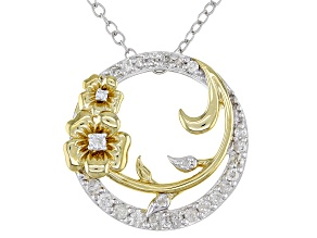 White Diamond Rhodium & 14k Yellow Gold Over Sterling Silver Pansy Circle Pendant With Chain 0.25ctw