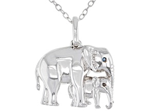 White & Blue Diamond Accent Rhodium Over Sterling Silver Mom & Baby Elephant Pendant With Chain