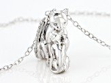 White Diamond Accent Rhodium Over Sterling Silver Mom & Baby Cat Pendant With Cable Chain
