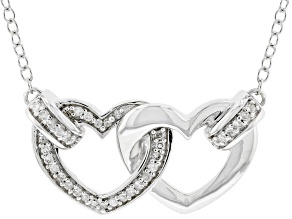 White Diamond Rhodium Over Sterling Silver Linked Hearts Necklace 0.10ctw