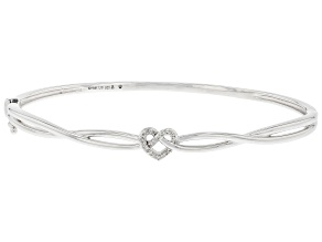White Diamond Rhodium Over Sterling Silver Love Knot Bangle Bracelet 0.10ctw