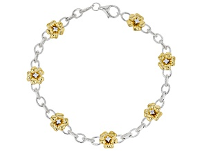 White Diamond Rhodium & 14k Yellow Gold Over Sterling Silver Pansy Link Bracelet 0.33ctw