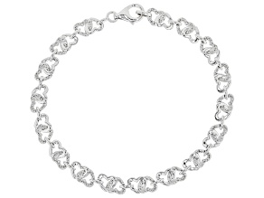 White Diamond Rhodium Over Sterling Silver Linked Hearts Bracelet 0.15ctw
