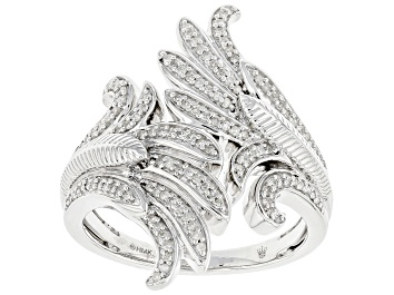 Picture of White Diamond Rhodium Over Sterling Silver Angel Wing Bypass Ring 0.25ctw