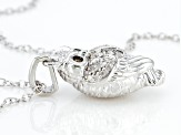 White And Champagne Diamond Rhodium Over Sterling Silver Owl Pendant With Cable Chain 0.10ctw