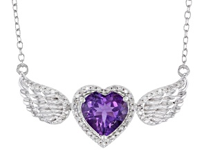White Diamond And Purple Amethyst Rhodium Over Sterling Silver Winged Heart Necklace 1.90ctw