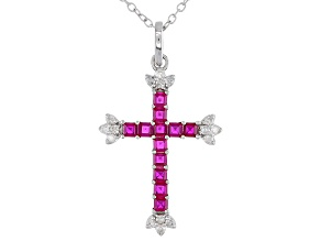 White Diamond And Red Lab Created Ruby Rhodium Over Sterling Silver Cross Pendant 0.78ctw