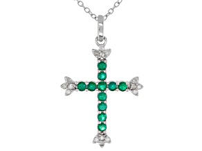 Green Lab Created Emerald And White Diamond Rhodium Over Sterling Silver Cross Pendant 0.70ctw