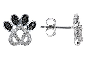 Black And White Diamond Rhodium Over Sterling Silver Love Knot Paw Stud Earrings 0.25ctw