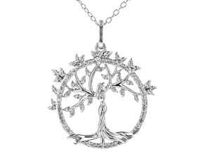 """White Diamond Rhodium Over Sterling Silver Mother Earth Pendant With 16"""" Rope Chain 0.10ctw"""