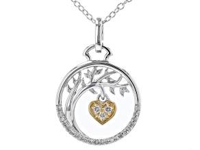 White Diamond Rhodium & 14k Yellow Gold Over Sterling Silver Tree & Heart Medallion Pendant 0.10ctw