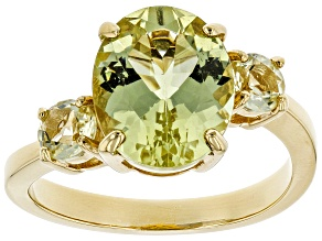 Yellow Apatite 18k Gold Over Silver Ring 3.55ctw