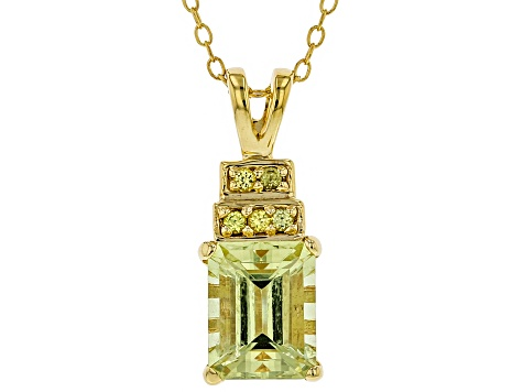 Yellow Apatite 18k Gold Over Sterling Silver Pendant with Chain 2.31ctw