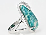 Blue Amazonite Rhodium Over Sterling Silver Ring .40ctw