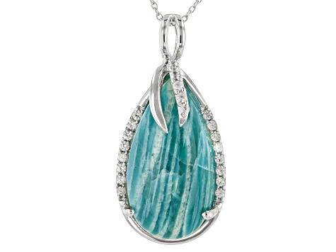 Blue Amazonite Rhodium Over Sterling Silver Pendant with Chain .40ctw