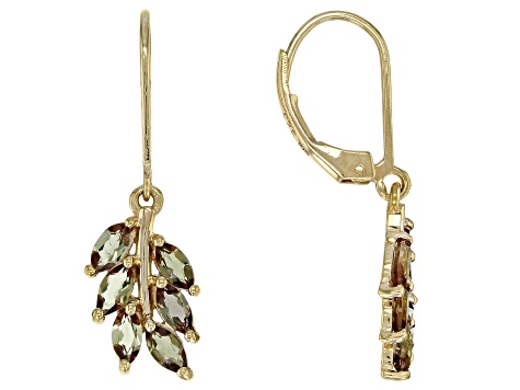 Brown andalusite 18k gold over silver earrings 1.44ctw