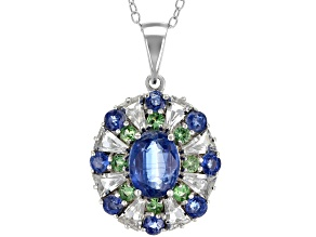 Blue Kyanite Rhodium Over Silver Pendant with Chain 3.10ctw