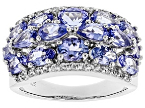 Blue tanzanite rhodium over silver ring