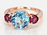Sky Blue Topaz 18k gold over silver ring 4.85ctw