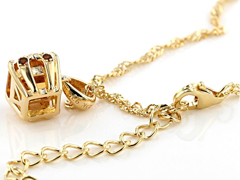 Yellow golden citrine 18k gold over silver pendant with chain 1.42ctw