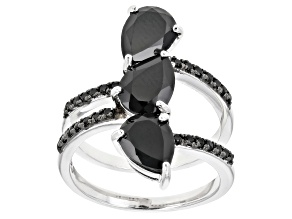 Black spinel rhodium over sterling silver ring 3.22ctw