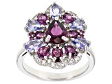Raspberry color rhodolite rhodium over silver ring 3.59ctw