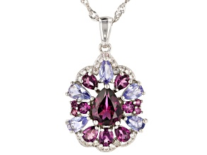 Rapberry color rhodolite rhodium over silver pendant with chain 3.15ctw