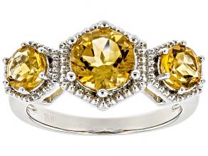 Yellow Citrine Rhodium Over Silver Ring 1.86ctw