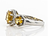 Yellow Citrine Rhodium Over Silver Ring 1.86ctw