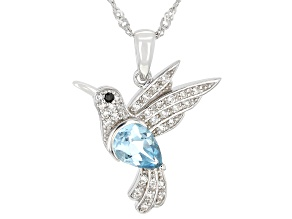 Sky Blue Topaz Rhodium Over Sterling Silver Pendant with Chain 1.86ctw