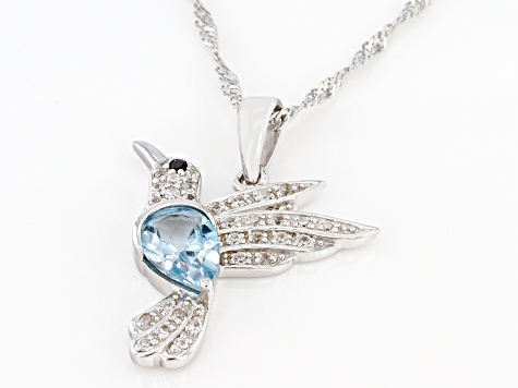 Sky Blue Topaz Rhodium Over Silver Pendant with Chain 1.86ctw