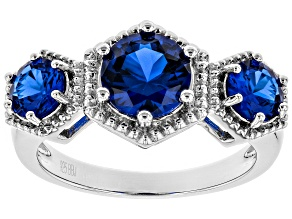 Blue lab created spinel rhodium over silver ring 2.06ctw