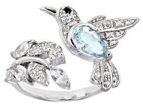 Sky Blue Topaz Rhodium Over Silver Ring 1.95ctw