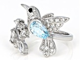 Sky Blue Topaz Rhodium Over Silver Ring 1.95ctw