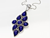 Blue lapis rhodium over silver pendant with chain