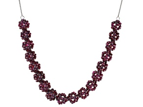 Purple raspberry color rhodolite sterling silver necklace